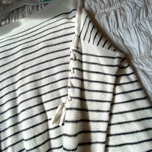 Sweaters - Striped off-the-shoulder Sweater